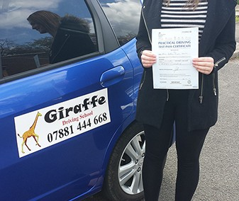 Bethan passed her driving test with giraffe driving school