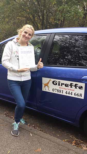 claire passed her driving test with giraffedrivingschool