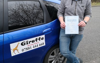 ian passing his test with Giraffe Driving School