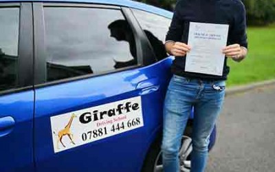 joseph fogg passed his test with giraffe driving school Kiveton Wales Sheffield