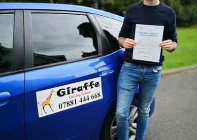 joseph fogg passed his test with giraffe driving school Kiveton Wales Sheffield