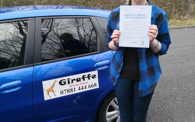 Nadia passing her driving test with Giraffe Driving School
